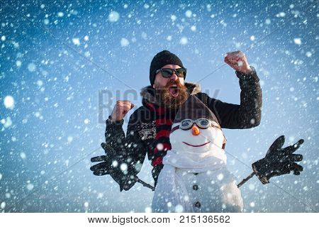 New Year Guy At Winter Season