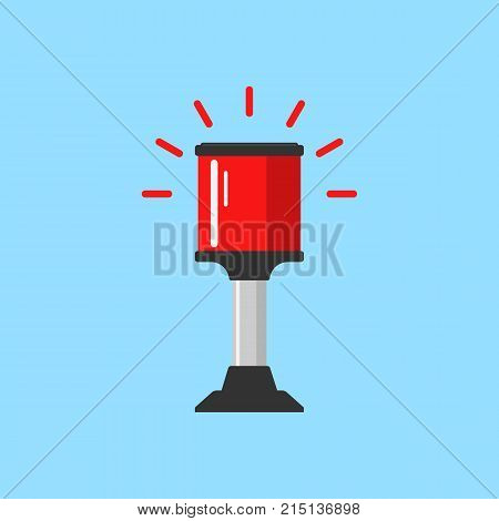 Flashing red alarm signal. Flasher alert icon. Simple flat vector illustration