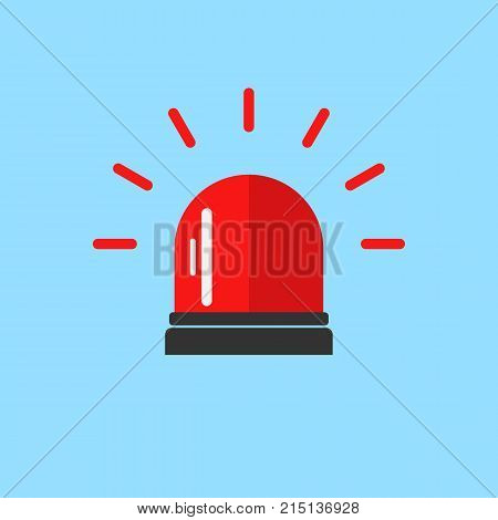 Flashing alarm signal. Police or ambulance red flasher siren logo. Flat style. Flasher alert icon. Simple flat vector illustration
