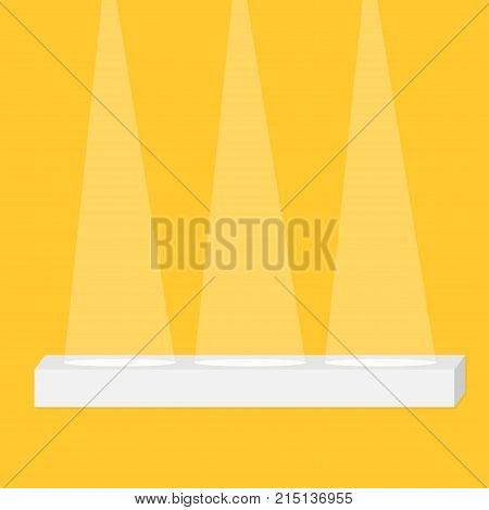 Stage podium table desk stand illuminated by three spotlights. Empty pedestal for display. 3d realistic Platform for design. Isolated. Yellow background. Template. Flat design. Vector illustration