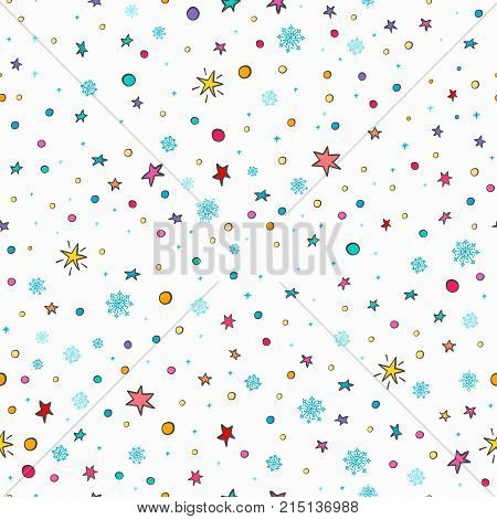 Merry Christmas Happy New Year simple seamless pattern. Wraping paper textile card postcard graphic design element. Hand drawn Photo backdrop Winter Holidays vector. Stars Snow flakes background