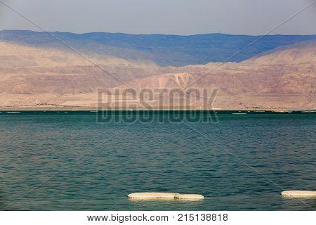 Salt Lumps Front Of The Jordanian Shore