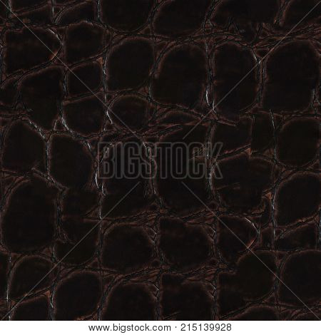 Crocodile dark skin leather texture. Seamless square background, tile ready. Extremely high resolution photo.