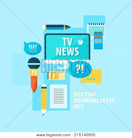 Correspondent flat set with different reporter equipment and journalistic elements on light blue background vector illustration