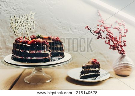 Cake With Happy Birthday Sign