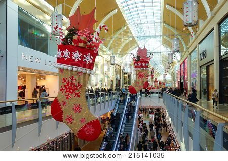 Cardiff Wales United Kingdom - November 29 2016: Locals and tourists are doing their Christmas shopping in St David's Centre Cardiff. During the festive Christmas season the shopping mall is adorned with beautiful Christmas decoration.