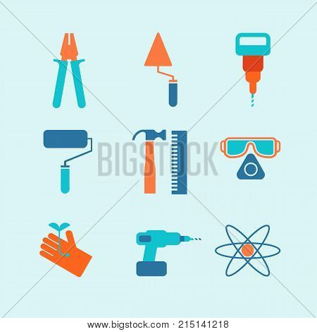 Set of nine vector specific icons on blue background with gloves, hammer, spectacles, roller and different working elements isolated vector illustration