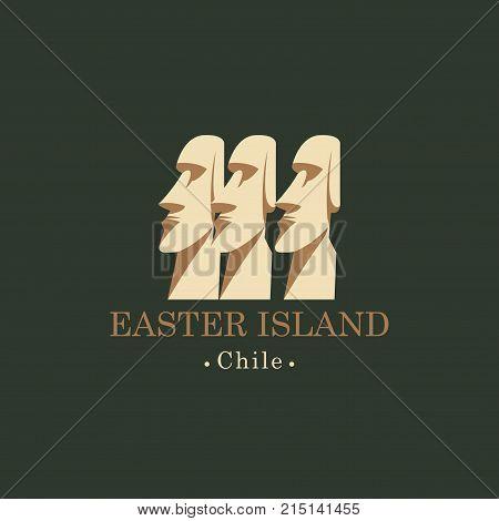 Vector travel illustration banner or logo. The Moai statues of Easter island Polynesia Chili. Stone idols of Rapa Nui island. World attraction