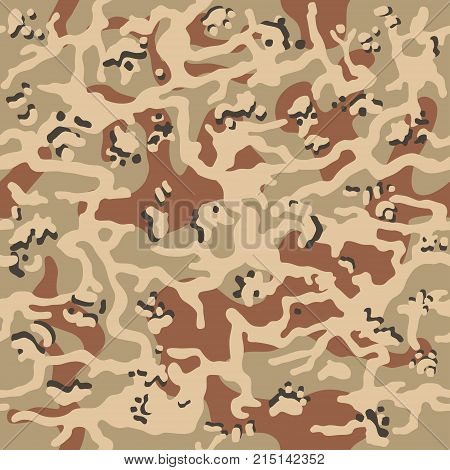 Military fabric or hunting camouflage background. Seamless camo pattern. Brown, beige color camouflage. Vector illustration.
