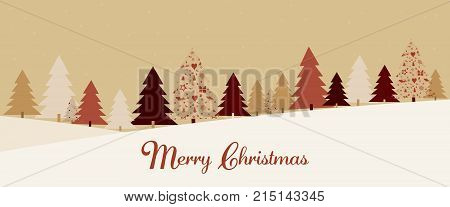 Christmas time. Christmas card with forest landscape in festive colors. Text : Merry Christmas.