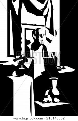 Classic still life in black and white colors, plaster sculpture, vase with flowers, decorative draping. Student work in painting, graphics and drawing. School of fine arts. Vector.
