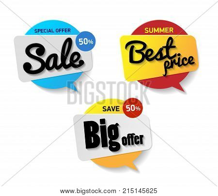 Set label sale. Special offer sale 50 percent Best price summer save big offer. Blue red and yellow circle banner. Speech bubble with text sale on white background.