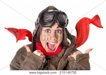 Funny Girl In Aviator Gear