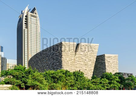 Scenic View Of The Guangzhou Library, China. Amazing Cityscape