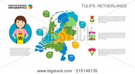 Tulips of Netherlands percentage chart. Business data. Product, diagram, design. Concept for infographic, templates, presentation. Can be used for topics like production, agriculture, marketing.