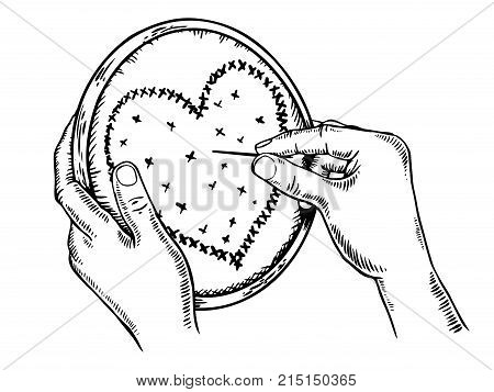 Hands embroider a heart fancywork symbol engraving vector illustration. Scratch board style imitation. Hand drawn image.