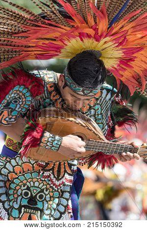 March 4, 2016 San Miguel de Allende Mexico: indigenous dancer playing its instrument at the Senior de la Conquista celebration