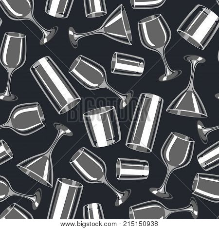 Types of bar glasses. Seamless pattern with alcohol glassware.