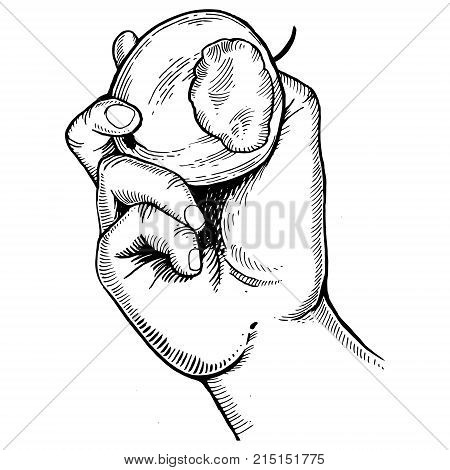 Hand with bitten apple engraving vector illustration. Scratch board style imitation. Hand drawn image.