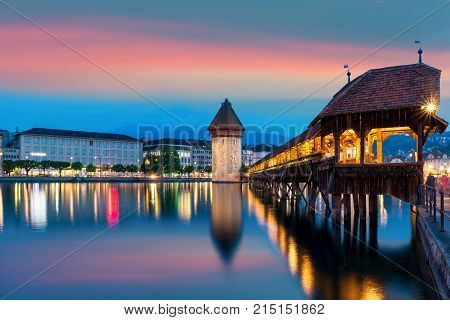 Lucerne. Image of Lucerne Switzerland during twilight blue hour.
