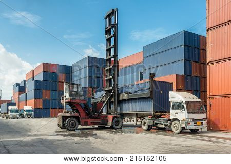 Forklift handling container box loading at docks with truck for Logistic Import Export concept.