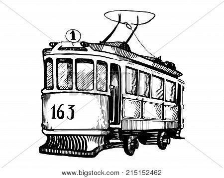 Vintage tram engraving vector illustration. Scratch board style imitation. Hand drawn image.