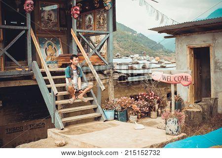 Lobesa Village, Punakha, Bhutan - September 11, 2016: Phallus Souvenir Shop In Bhutan.