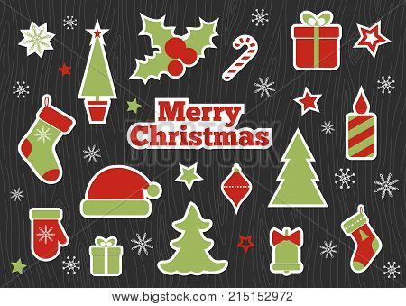 Christmas fashion patches. Vector set of badges, stickers with christmas tree, gift boxes, holly berries, santa stockings