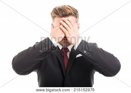 Handsome Business Man Covering Eyes Like Blind Gesture