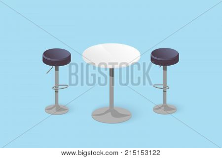 Set Of Bar Stools And Table.