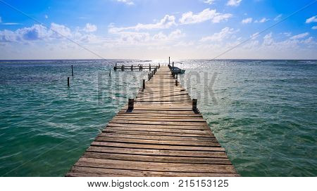 Mahahual Caribbean beach pier in Costa Maya of Mayan Mexico