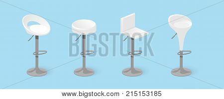Set Of White Bar Stools.