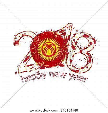 2018 Happy New Year Kyrgyzstan Grunge Vector Template For Greeting Card And Other.