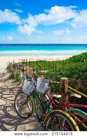 Tulum Caribbean beach bicycles in Riviera Maya of Mayan Mexico