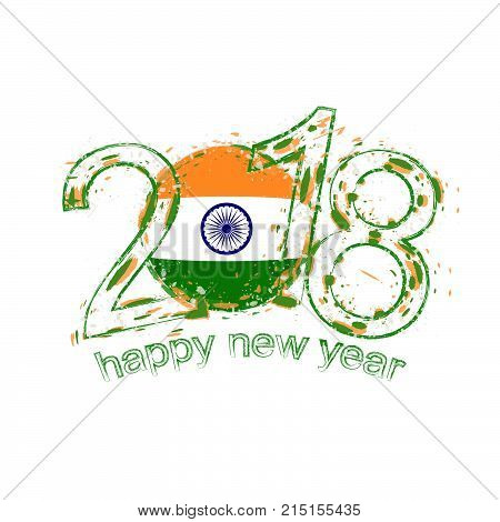 2018 happy new year india grunge vector template for greeting card and other