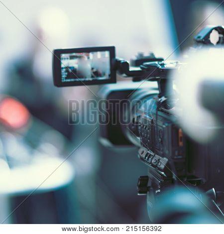 Camera At A Media Conference, Toned Image