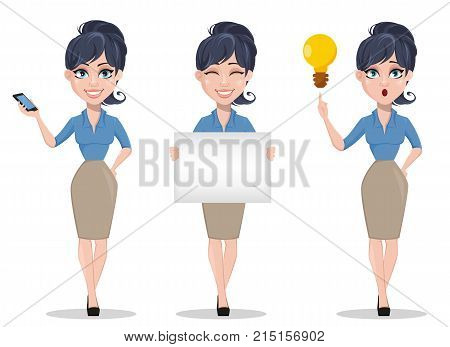 Business woman set of three poses holding smartphone holding placard and having an idea. Beautiful businesswoman in formal clothes standing straight. Cute cartoon character. Vector illustration.
