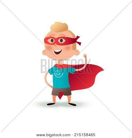 Cartoon superhero boy standing with cape waving in the wind. Happy little hero kid. Children character in red supermen cloak and carnival mask.