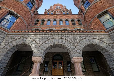 December 25, 2016 Dallas, Texas: The Dallas County Courthouse also known as the Old Red Museum, built in 1892 of red sandstone rusticated marble accents