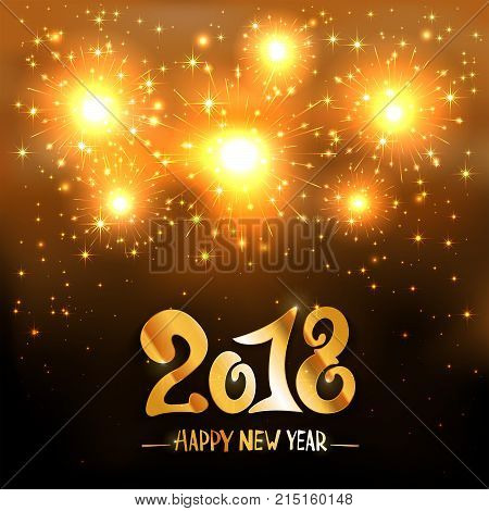 Lettering Happy New Year 2018 and golden sparkling fireworks on black shiny background, holiday greeting, illustration.