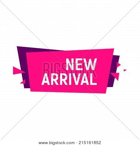 New arrival lettering on pink banner. Inscription can be used for leaflets, posters, banners