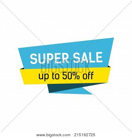 Super sale and fifty percent off lettering on origami speech bubble. Inscription can be used for leaflets, posters, banners.