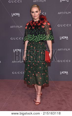 LOS ANGELES - NOV 04:  Lindsey Vonn arrives for the 2017 LACMA Art + Film Gala on November 04, 2017 in Los Angeles, CA