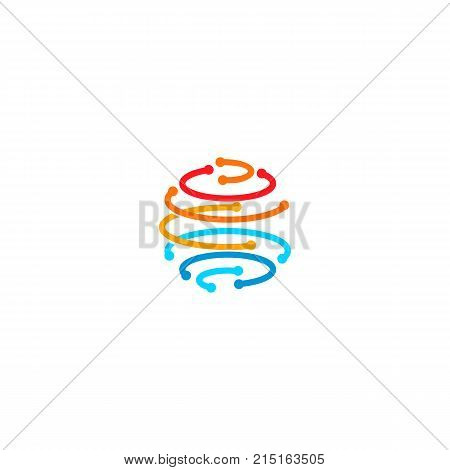 Sphere from colorful lines with points in the nodes, forming planet earth shape. Communication globe network technology, vector abstract logo