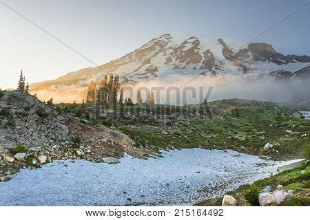 Afternoon Sun Glows Over Fog Below Mount Rainier