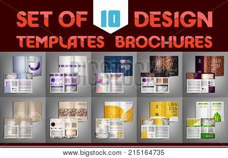 Set of 10 design templates brochures, flyer, leaflet, presentation covers, annual report, magazine. Modern dynamic creative design. Vector illustration layout.