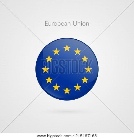 Europe flag vector sign. Isolated European Union circle button symbol. EU illustration icon with stars for presentation business marketing project travel event concept web design badge logo