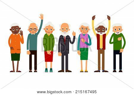 Group Of Gesticulating Elderly People