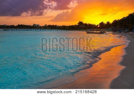 Mahahual Caribbean beach sunset in Costa Maya of Mayan Mexico