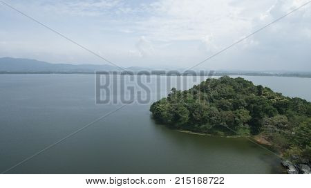 top view lake and forest with green trees drone view in the forest wood